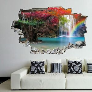 Jul 24, 2021, 04:47 pm ist Waterfall Wall Stickers Mural Decal Poster Nature View Rainbow Forest Gk21 Ebay