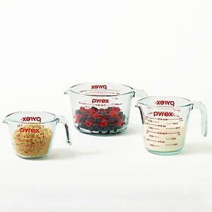 kitchen measuring tools hickory cabinets pyrex glass 3 piece cup set non image is loading