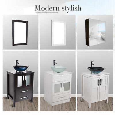 24 Bathroom Vanity Sink Combo Cabinet Single Vessel Ceramic Bowl Mirror Set Us Jolash Pl