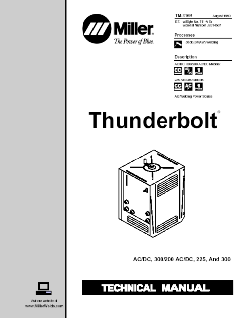 MILLER THUNDERBOLT (SEE DESCRIPTION FOR ALL MODELS