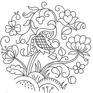 Vintage Visage iron on embroidery transfer- Jacobean deco