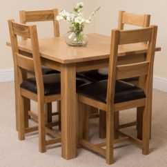 Oak Kitchen Table Refacing Thermofoil Cabinets Oslo Solid 90cm Square Dining Room 4 Brown Lincoln Chairs Leather