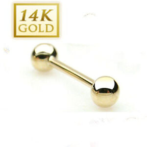 14K Solid Yellow Gold Tongue Barbell Ring : 16 & 14 Gauge