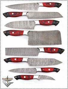 red kitchen knife set john boos cart gladiatorsguild custom damascus steel 8 pcs chef image is loading