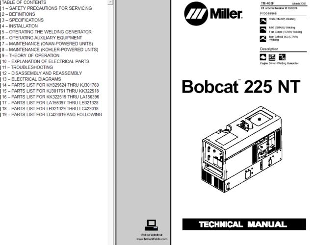 MILLER BOBCAT 225 225G WELDER GENERATOR ONAN ENGINE
