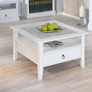details about stanley square coffee table in white with 1 drawer
