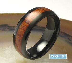 Holzring Edelstahlring Stahl Wolfram Fingerring Herren schwarz Ring 60636668  eBay