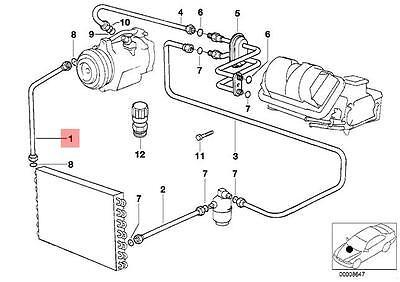 Genuine BMW E34 Sedan Wagon Refrigerant Discharge Hose