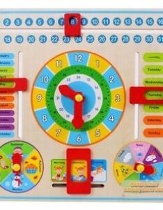 Stock photo also early educational wooden calendar toy clock date weather chart kids rh ebay