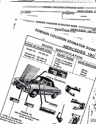 MERCEDES BENZ 190 SL ROADSTER BODY PARTS LIST CRASH SHEETS