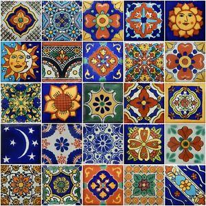 details about 25 mexican talavera tiles 2x2 clay handmade folk art mosaic handpainted