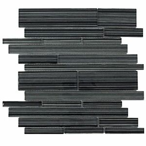 details about modern linear black glossy glass backsplash tile kitchen bathroom wall mto0016