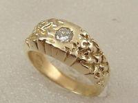 14K MEN'S NUGGET SOLITAIRE DIAMOND RING 14 KARAT GOLD 0.25 ...