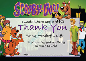 details about scooby doo pack of 10 thank you cards kids children birthday party