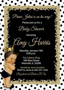 Details About Prince Baby Shower Invitation Black And Gold White Royal King