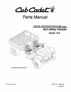 Cub Cadet Big Country 4x2 utility vehicle Operator Manual