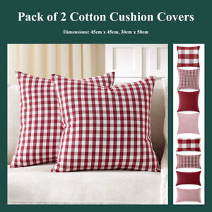 details about pack of 2 red white buffalo check cushion covers stripe gingham pillow cases