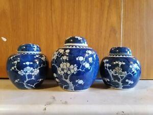 3xChinese antique blue white jars