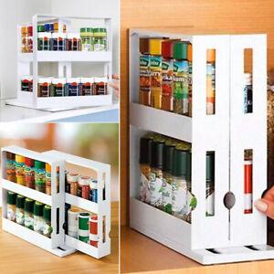 details about 2 layer swivel spice rack organizer storage shelf kitchen cabinet space saver uk