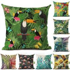 Sofa Box Cushion Covers Cloth Color Tropical Plant Leaves Pillow Case Cotton Linen Square Details About Cover Smallan