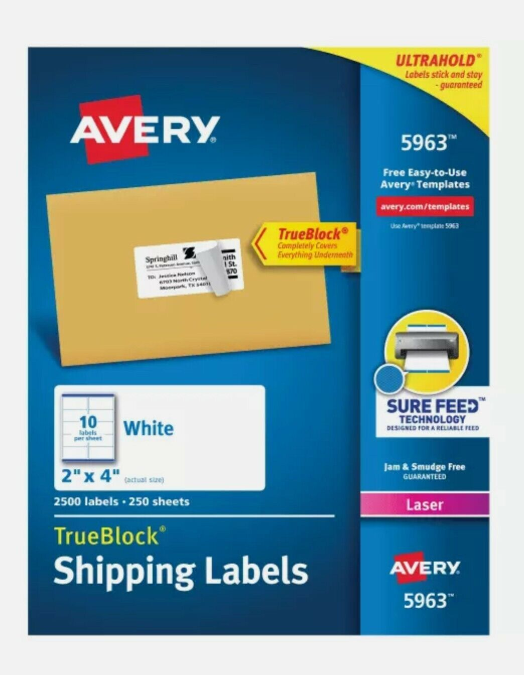 Avery 5963 Template : avery, template, Avery, Labels, TrueBlock, Technology, Laser, White, 2500/box, Ave5963, Online