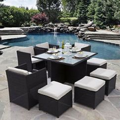 Rattan Table And Chairs Mid Century Chair Upholstery Garden Furniture Cube Set Outdoor Patio Image Is Loading