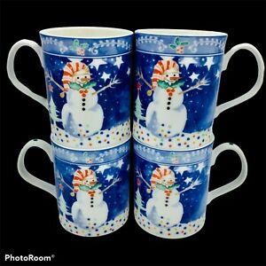 Set of 4 Noritake Epoch Mr Snowman Christmas Winter Holiday Mugs Coffee Cups | eBay