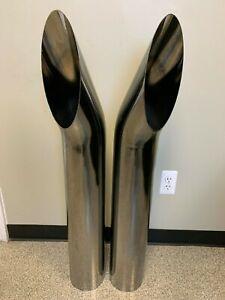 details about chrome exhaust stack aussie cut 6 x40 pair