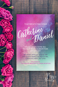 Details About Personalised Modern Watercolour Multi Pink Blue Green Wedding Invitations 10 S