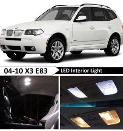 details about 13 pcs white error free interior led light package kit fit 2004 2010 bmw x3 e83 [ 1600 x 1600 Pixel ]