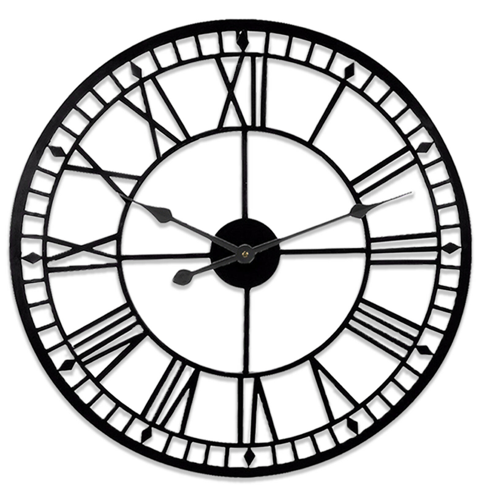 Large Roman Wall Metal Clock Traditional Vintage Skeleton Home Garden Black Iron EBay
