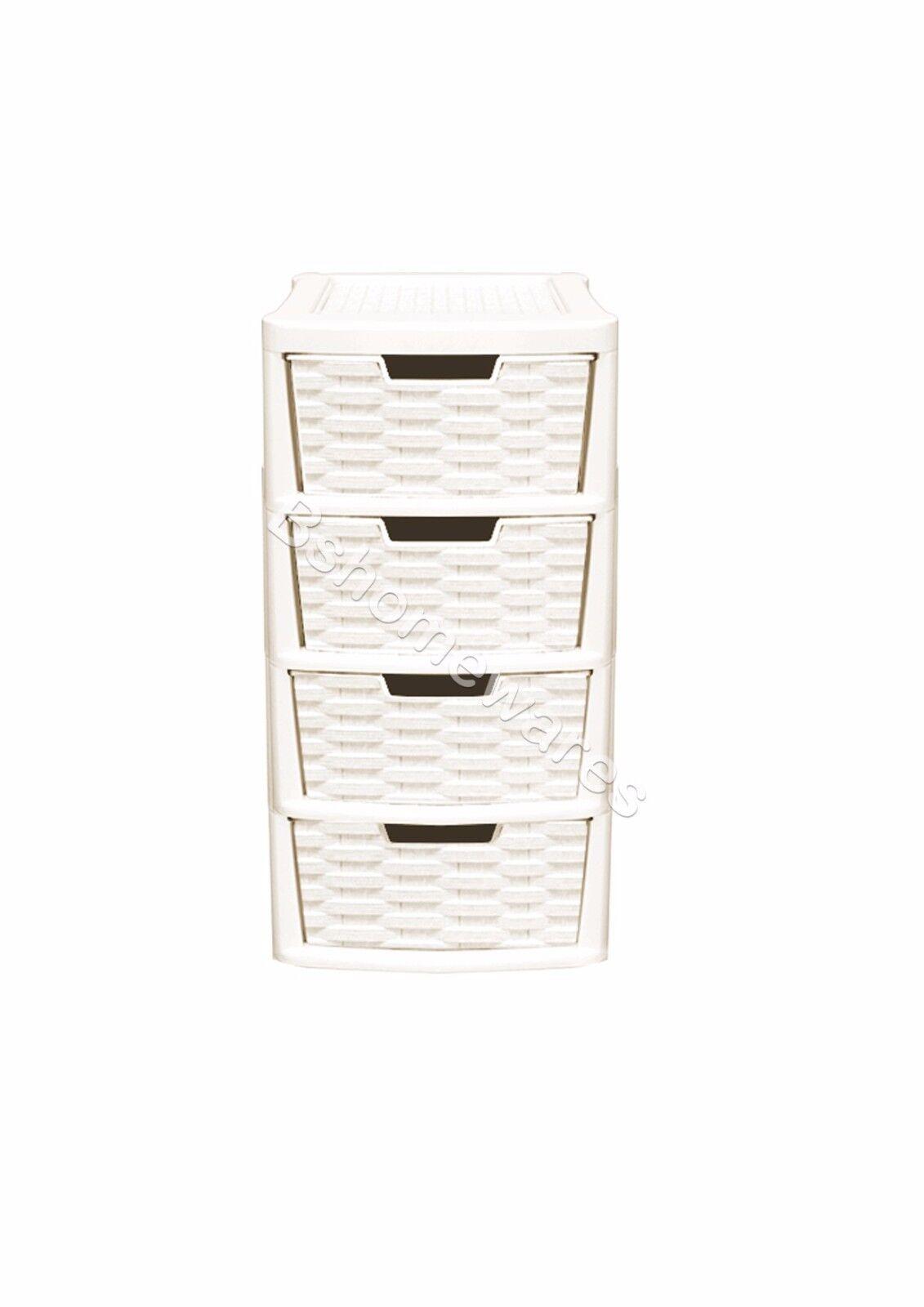 Plastic Rattan Drawer Storage Unit Cabinet Small & Medium