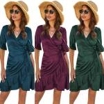 Women Short Sleeve Wrap Boho Mini Dress Ladies Party Summer Sundress Holiday