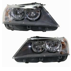 11-14 BMW X3 Front Headlight Headlamp Halogen Head Light Lamp w/Bulb Set Pair   eBay