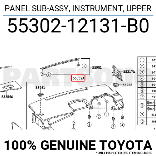5530212131B0 Genuine Toyota PANEL SUB-ASSY, INSTRUMENT