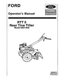 NEW HOLLAND Ford RTT 5 Rear Tine Tiller 9801908 OPERATORS