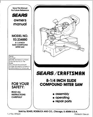 Craftsman 113.234880 Miter Saw Owners Instruction Manual