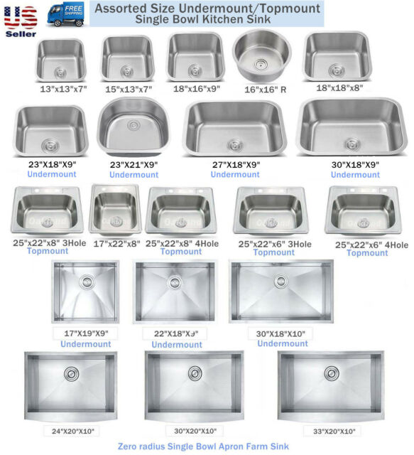 various sizes single bowl under mount