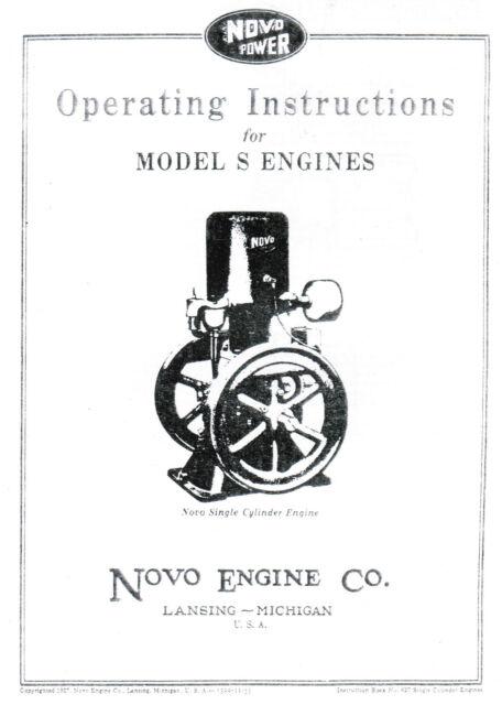 Novo Model S Gas Engine Motor Manual Book hit miss Single