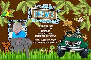 details about jungle safari birthday party invitation any colors add photo let s get wild