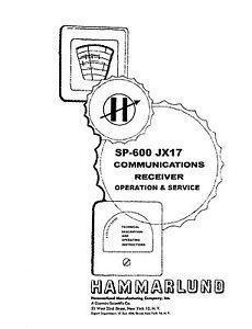 Hammarlund SP-600 JX17 Operation & Service Manual Reprint