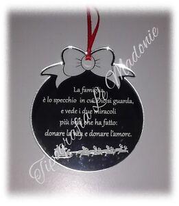 Il tuo sorriso e le tue risate. Pallina Di Natale Con Incisa Frase Sulla Famiglia Taglio Laser Ebay