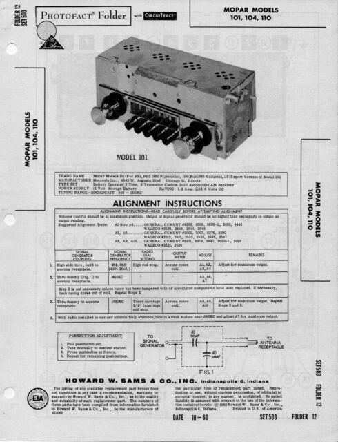 1960 MOPAR 101 104 110 PLYMOUTH AUTO RADIO SERVICE MANUAL