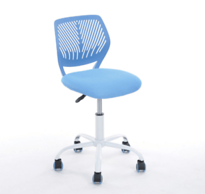 office chair no wheels arms outdoor swing bunnings desk mesh back support blue with kids pc image is loading