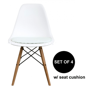 eames chair cushion posture amazon set of 4 mid century modern white pad dsw side dining wood details about esque
