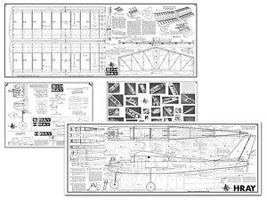 AMCO H-Ray Full Size Balsa Model Airplane Kit Printed