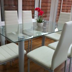 White 6 Chair Dining Table Swivel Blind Stunning Glass Set And With 4 Or Faux
