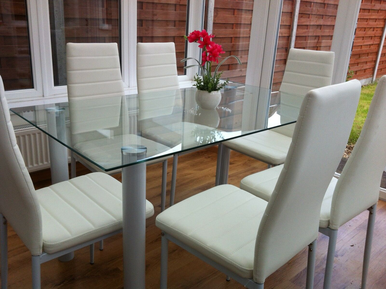 Glass Tables And Chairs Stunning Glass Dining Table Set And With 4 Or 6 Faux