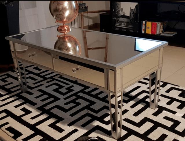 mirrored coffee table modern mirror furniture 2 drawer storage unit living room