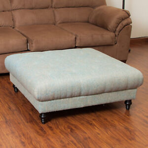 details about parisian contemporary button tufted fabric pillow top ottoman coffee table